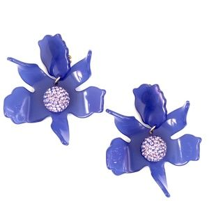 NEW Lele Sadoughi Crystal Lily Earrings in Blue